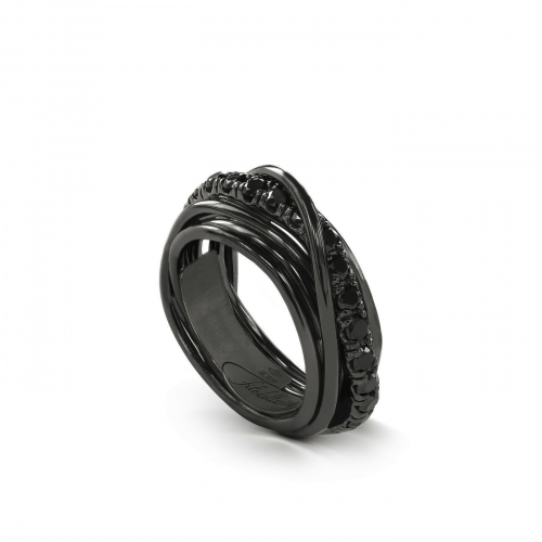 Anello 7 Fili in Argento Brunito e Diamanti Black