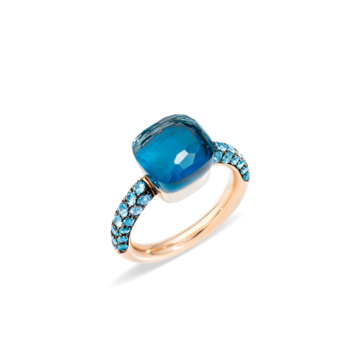 Anello in Oro Rosa Topazio Blu London Turchese
