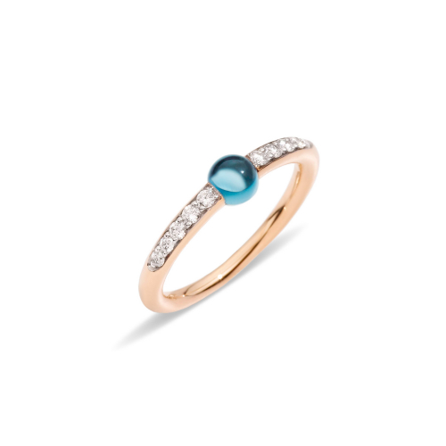 Anello in Oro Rosa con Topazio Blu London Cabochon e Diamanti Ct 0,19