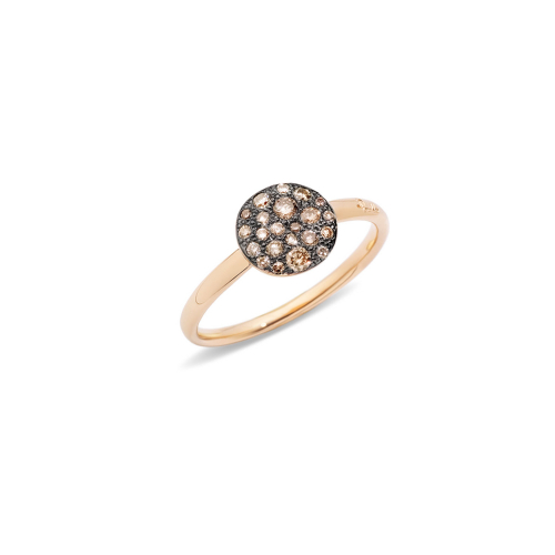 Anello in Oro Rosa con Pave' in Oro Rosa e Brillanti Brown Ct 0,24