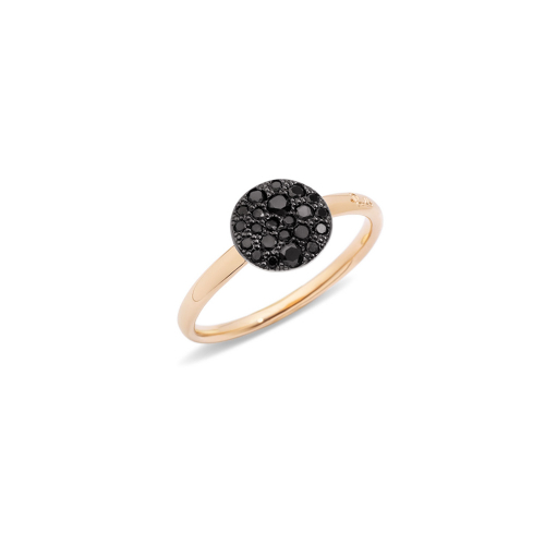 Anello in Oro Rosa con Pave' in Oro Rosa Brunito e Brillanti Black Trattati Ct 0,24